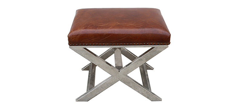 Leather Top Chrome Stool – 1013